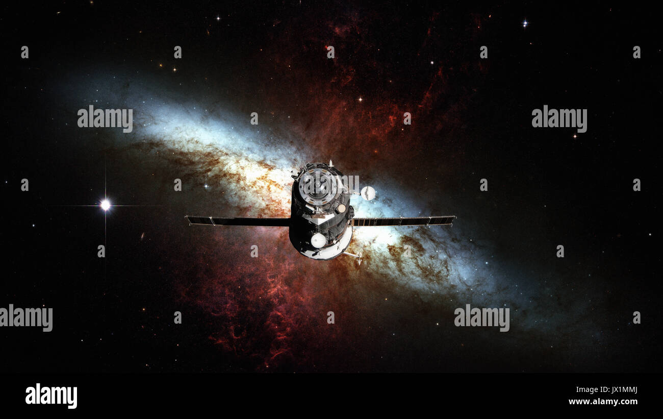 Spacecraft Progress orbiting the nebula. - Stock Image