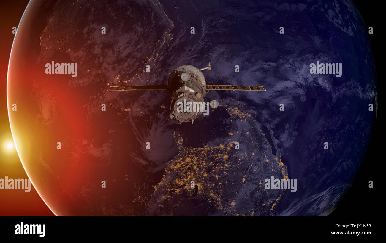 Spacecraft Progress orbiting the earth. - Stock Image