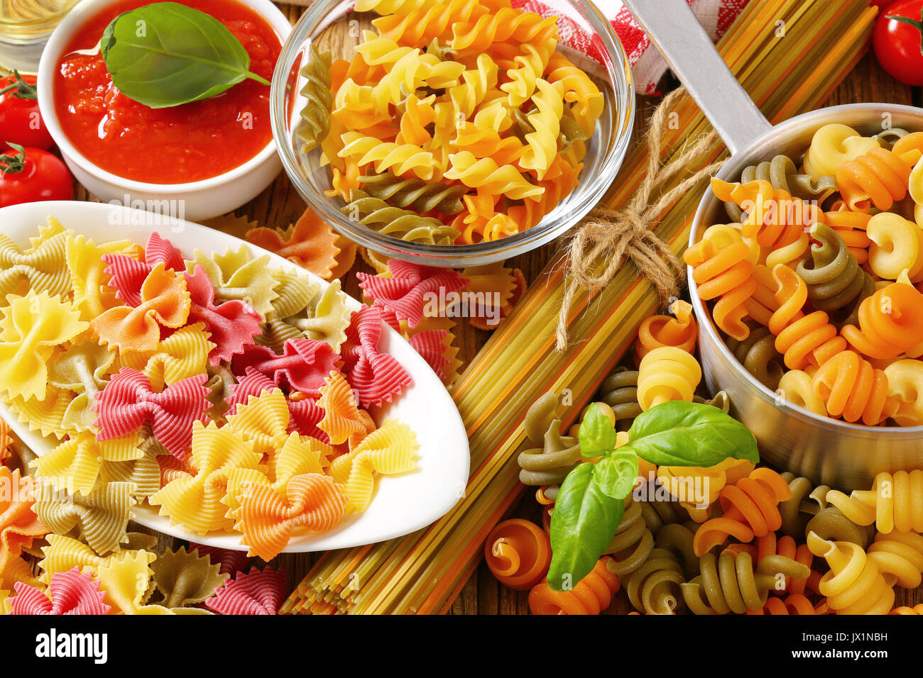 Various types of coloured pasta Stock Photo