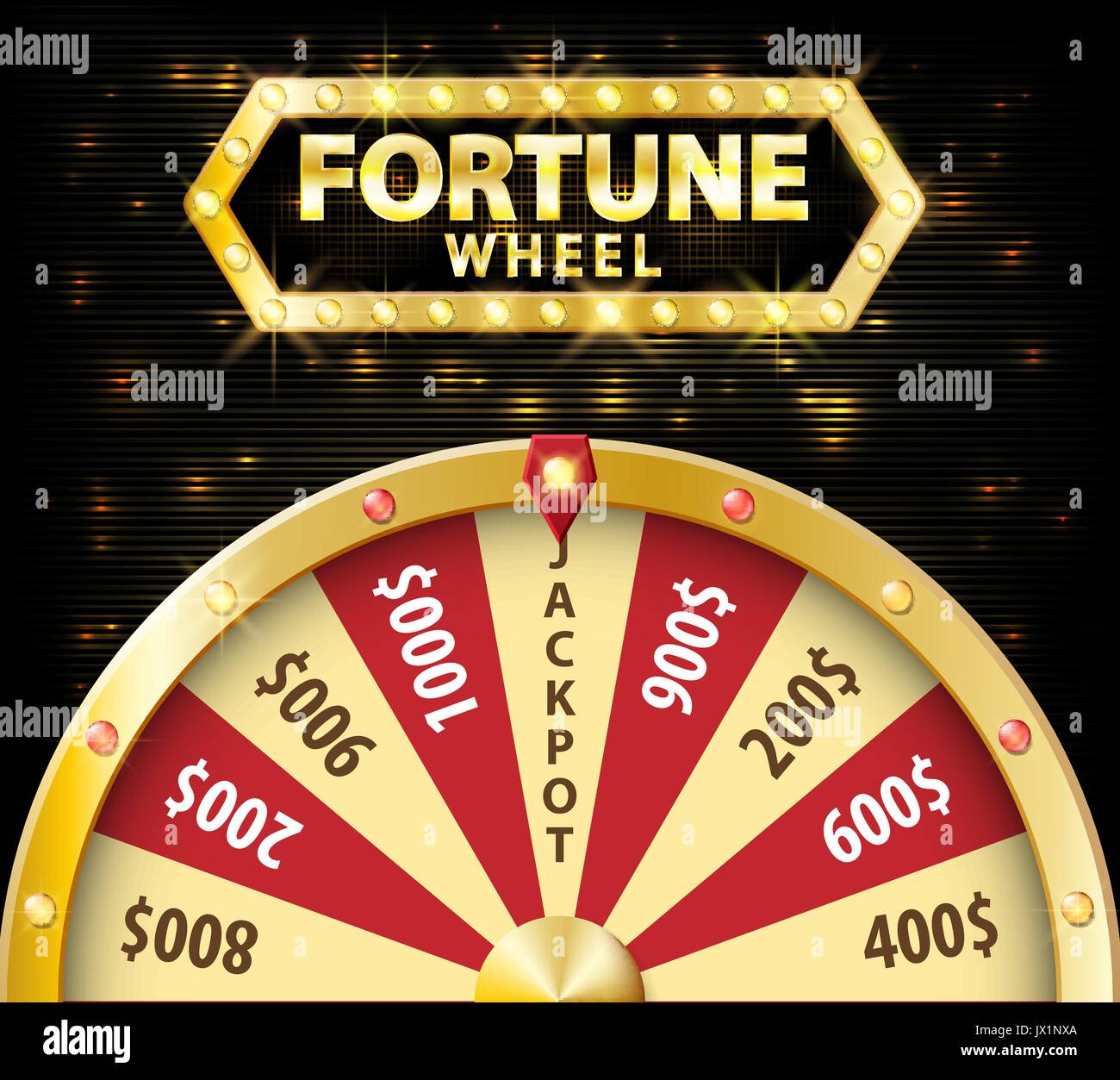 Gold realistic wheel of fortune 3d object isolated on dark background with place for text. lucky roulette vector illustration - Stock Vector