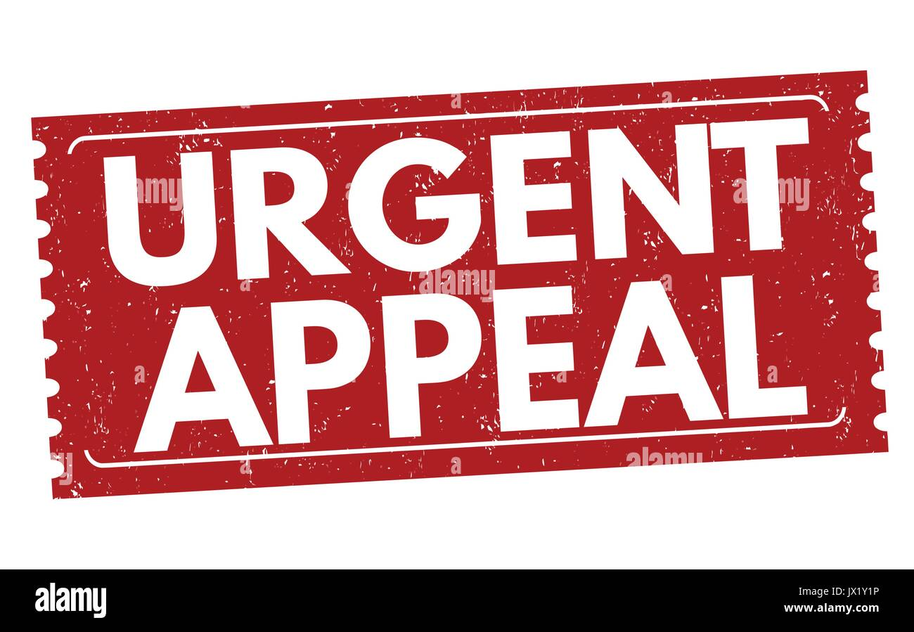 Urgent appeal grunge rubber stamp on white background, vector illustration - Stock Image