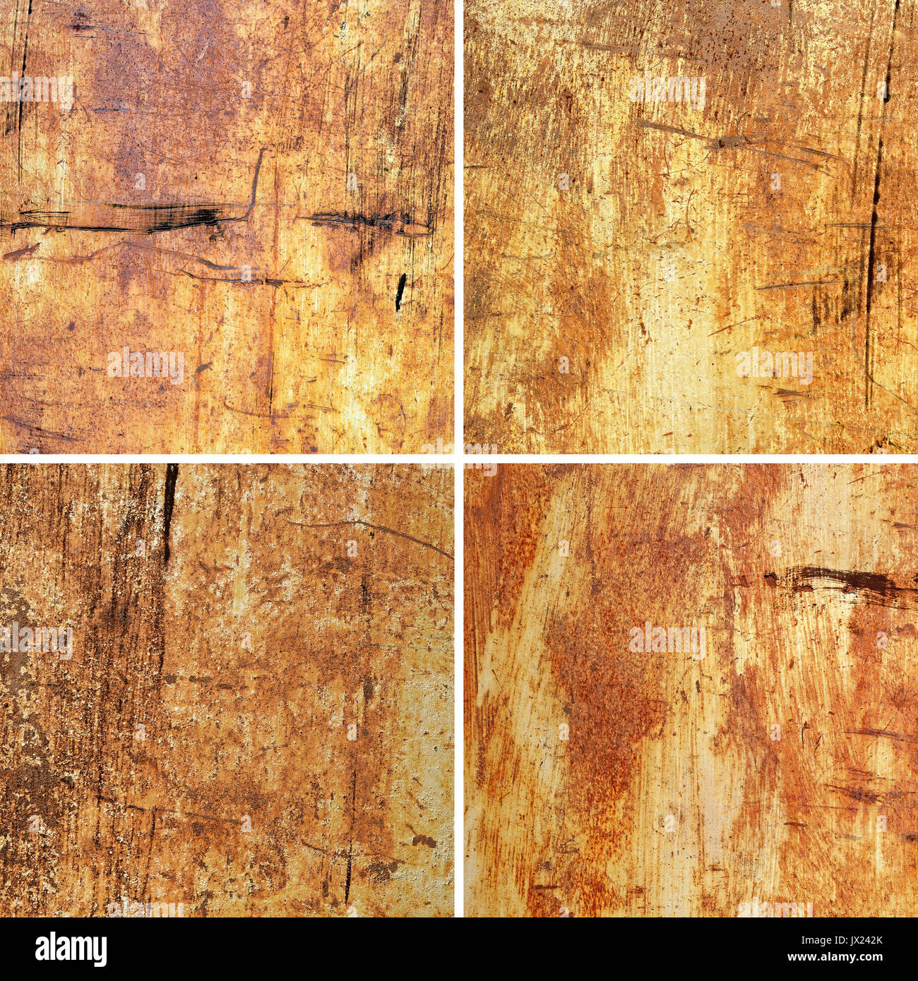 Set of Old Damaged and Weathered Metal or Steel Surfaces as Texture or Background - Stock Image