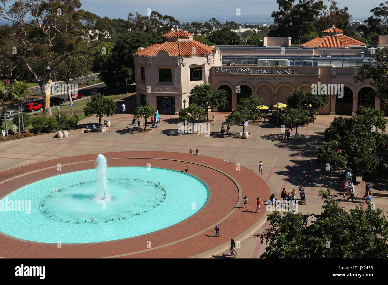 Rooftop view of the Plaza de Balboa and the huge Bea Evenson  fountain in front of the Reuben H. Fleet Museum in - Stock Image