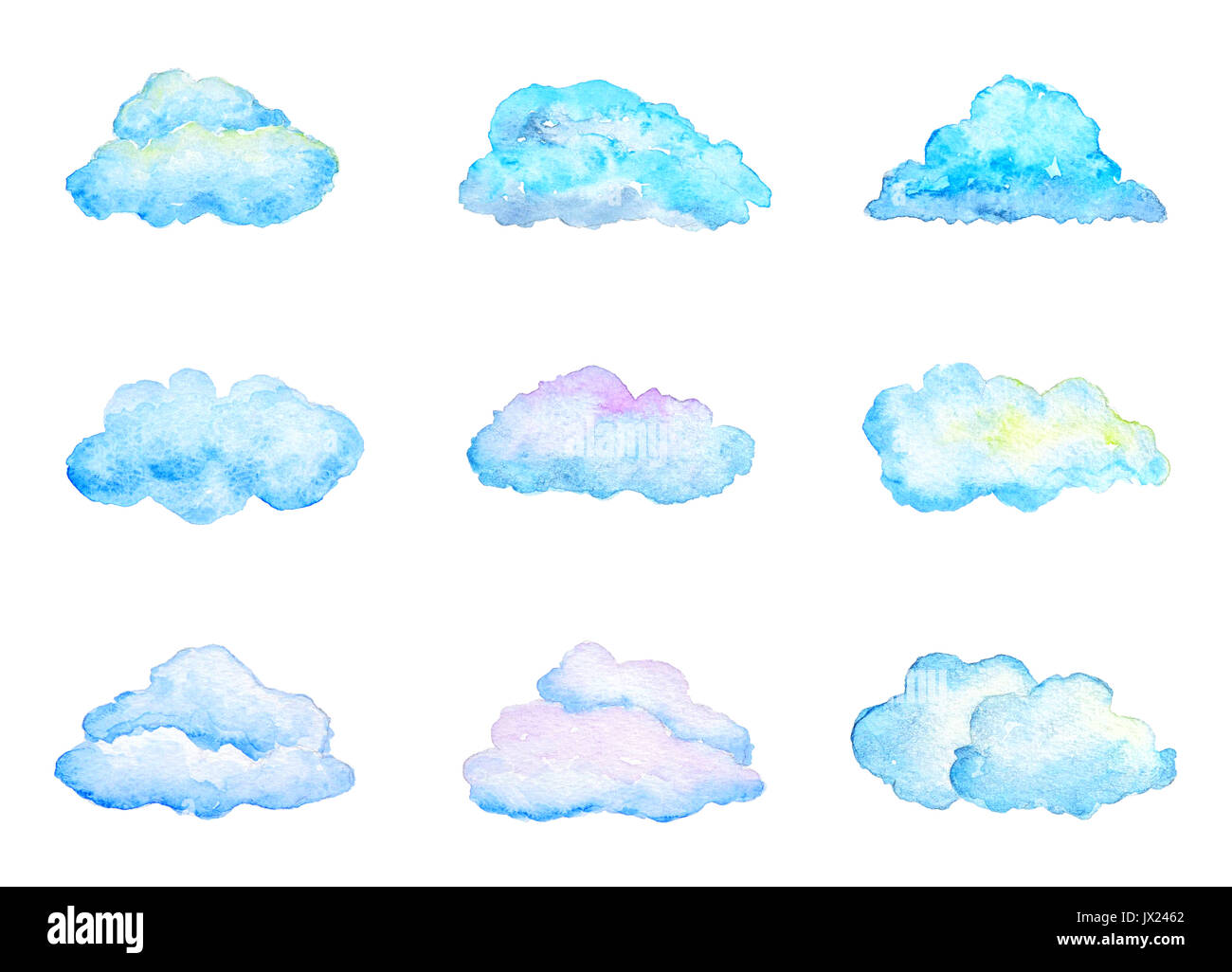 Set of Bright Blue Watercolor Clouds, Isolated on White, Hand Drawn and Painted - Stock Image