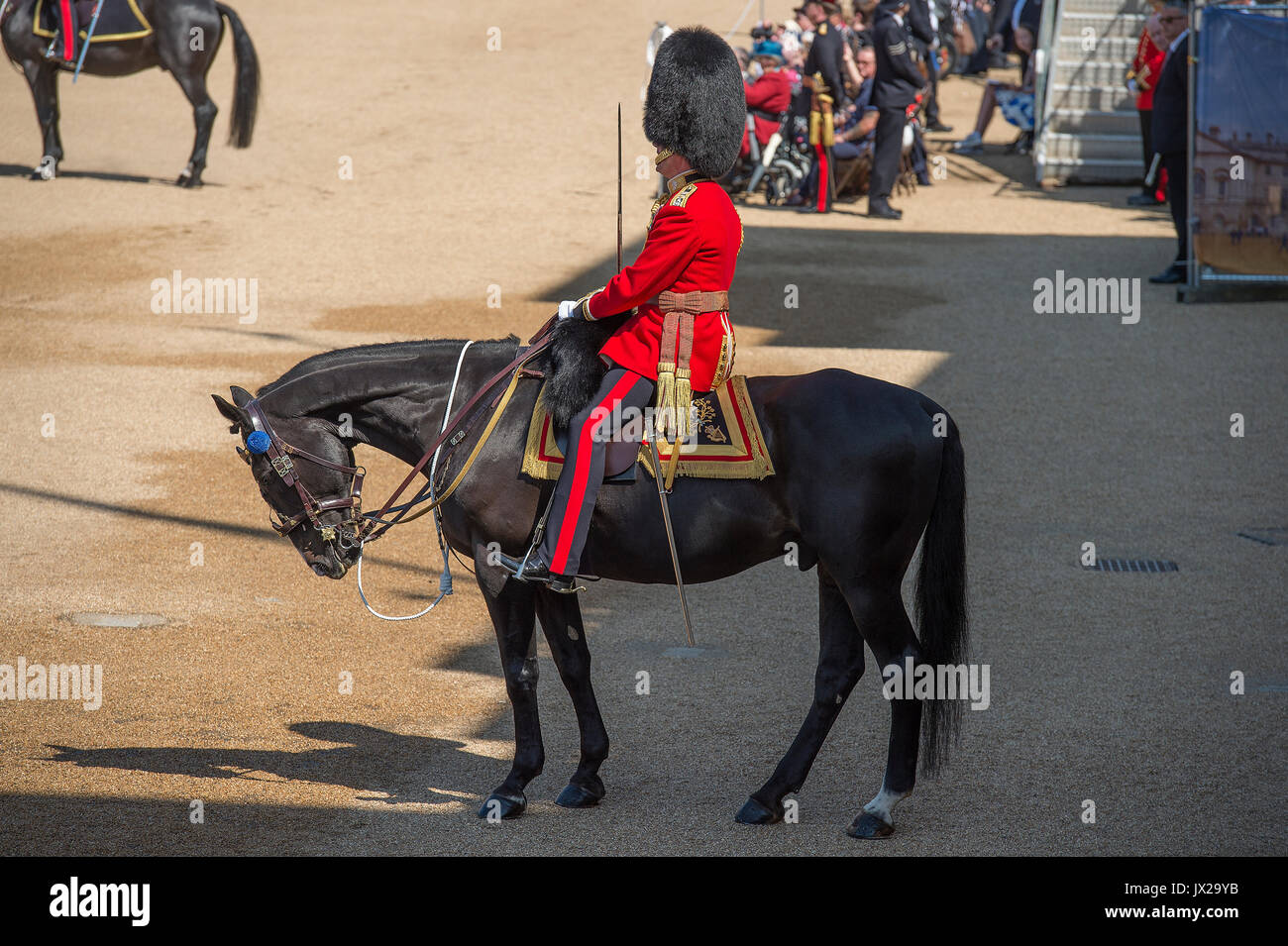 17th June 2017. Field Officer in Brigade Waiting, Horse Guards Parade, London, UK. Trooping the Colour 2017, The Queen's Birthday parade - Stock Image