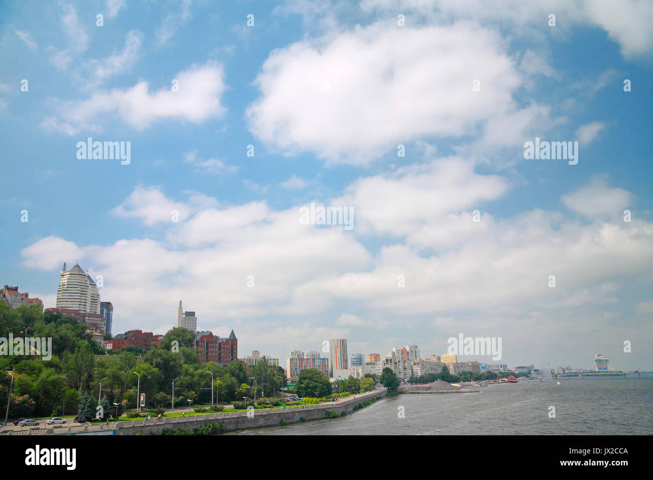 Dnipropetrovsk embankment (Dnepr) against the sky with clouds - Stock Image