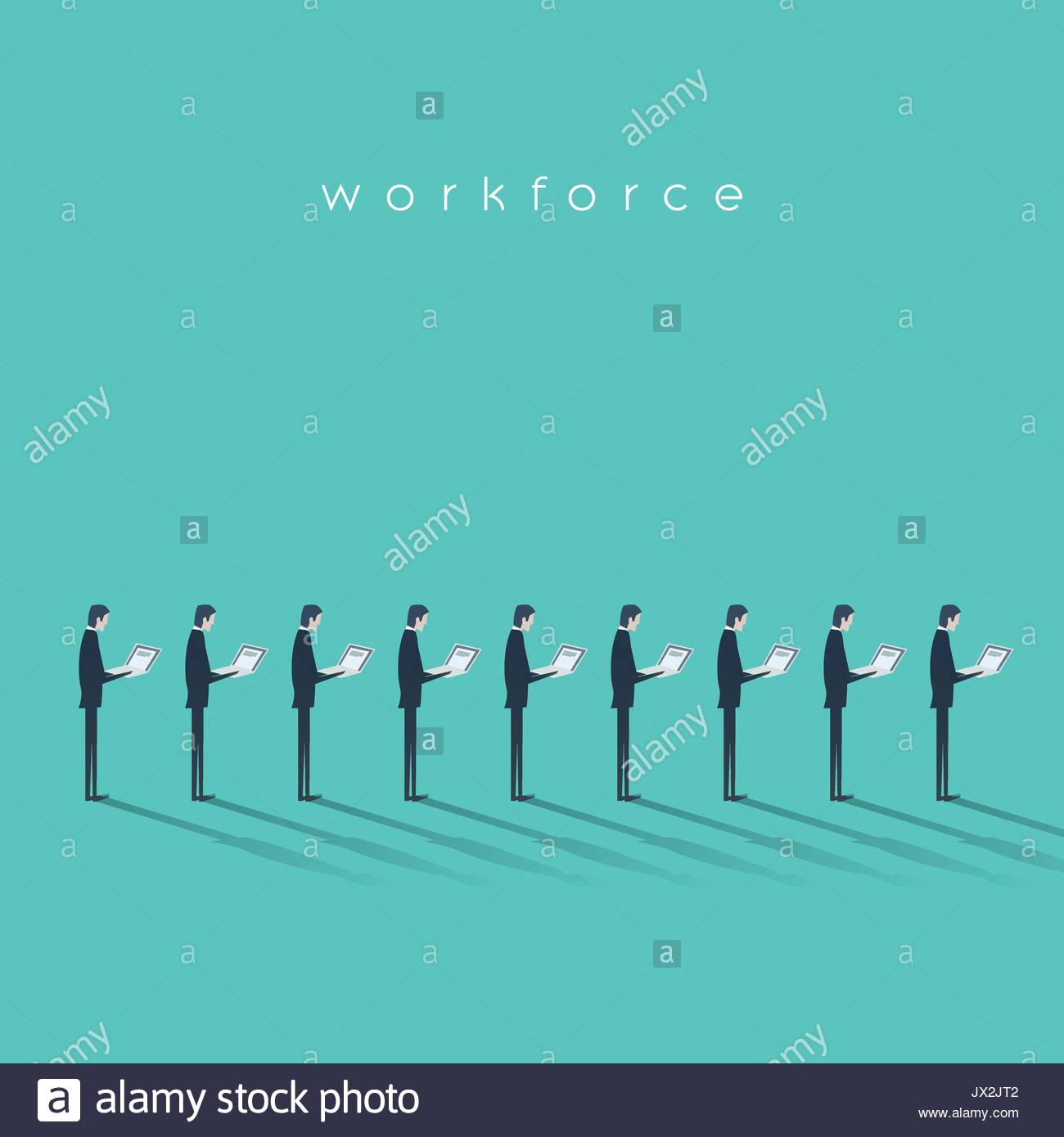 Business workforce vector illustration concept with businessmen doing menial repetitive job. Business outsourcing concept. Eps10 vector illustration - Stock Image