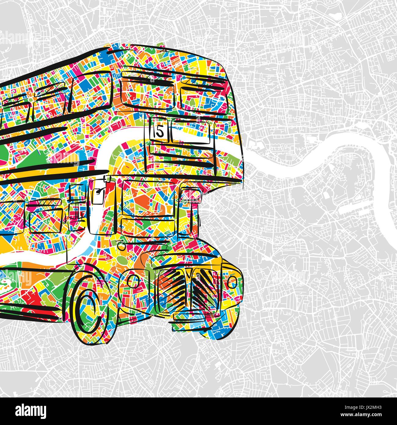 Handdrawn London Bus in colorful urban city map, beautiful Travel Landmark Icon for printed greeting cards and social Stock Vector