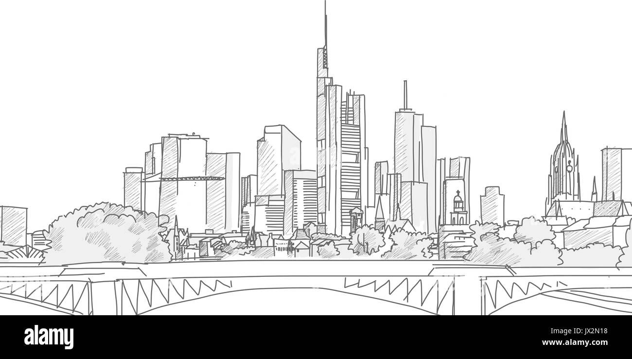 Hand drawn Frankfurt Skyline Panorama Sketch. Vector illustration. Grey strokes on white background - Stock Vector