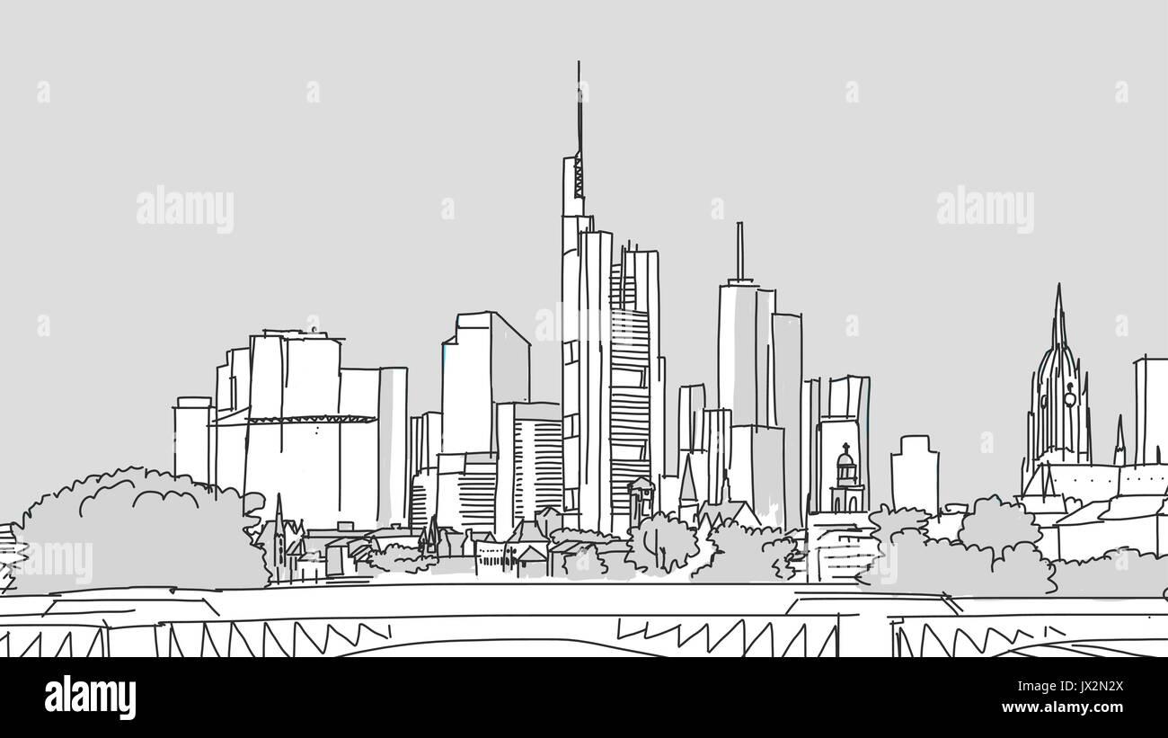 Frankfurt Main Panorama Landmark, Filled Vector Sketch on Grey Background - Stock Vector