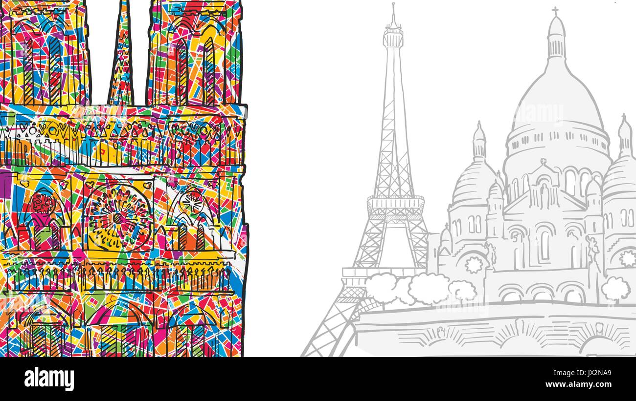 Paris Modern Travel Landmarks, Hand-drawn Colorful Notre Dame and copy space - Stock Vector