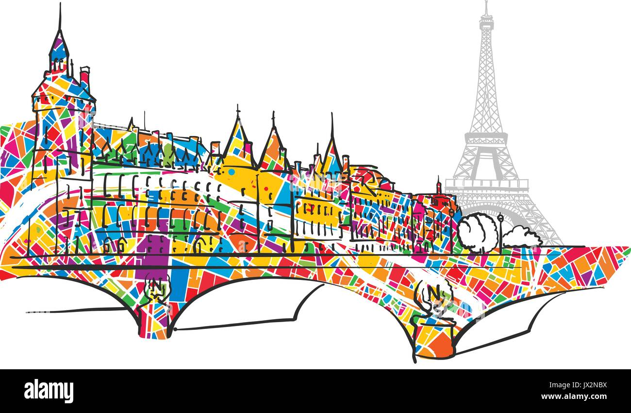 Paris Urban City Bridge and Eiffel Tower, hand-drawn vector sketch and colorful map symbol. - Stock Vector