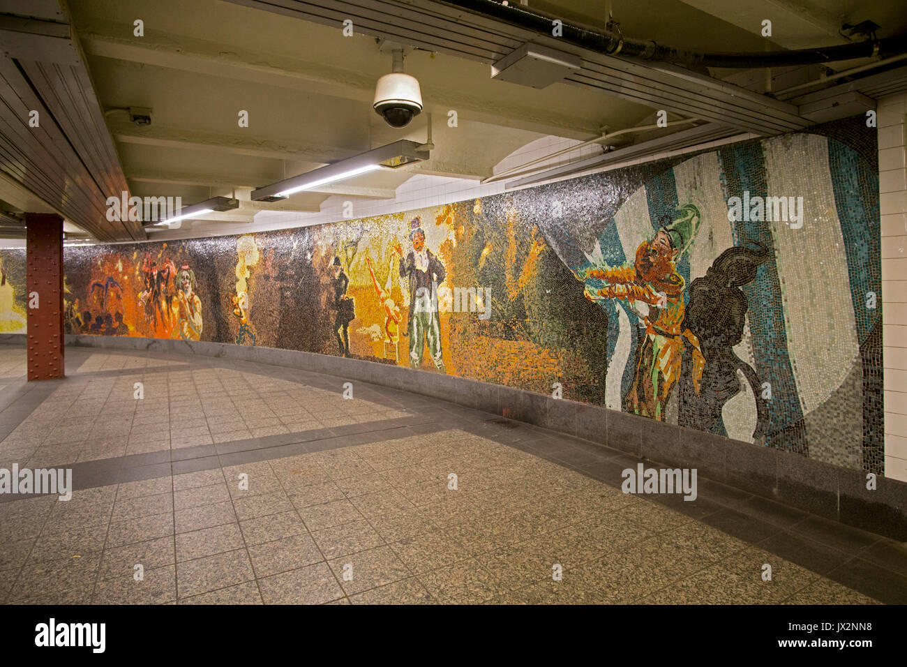 Mosaic art work at the 34th street penn station subway station in manhattan new york