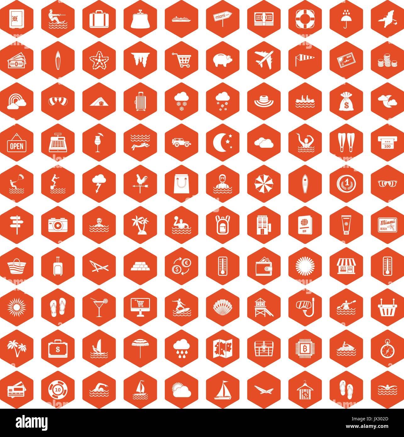 100 seaside resort icons hexagon orange - Stock Vector
