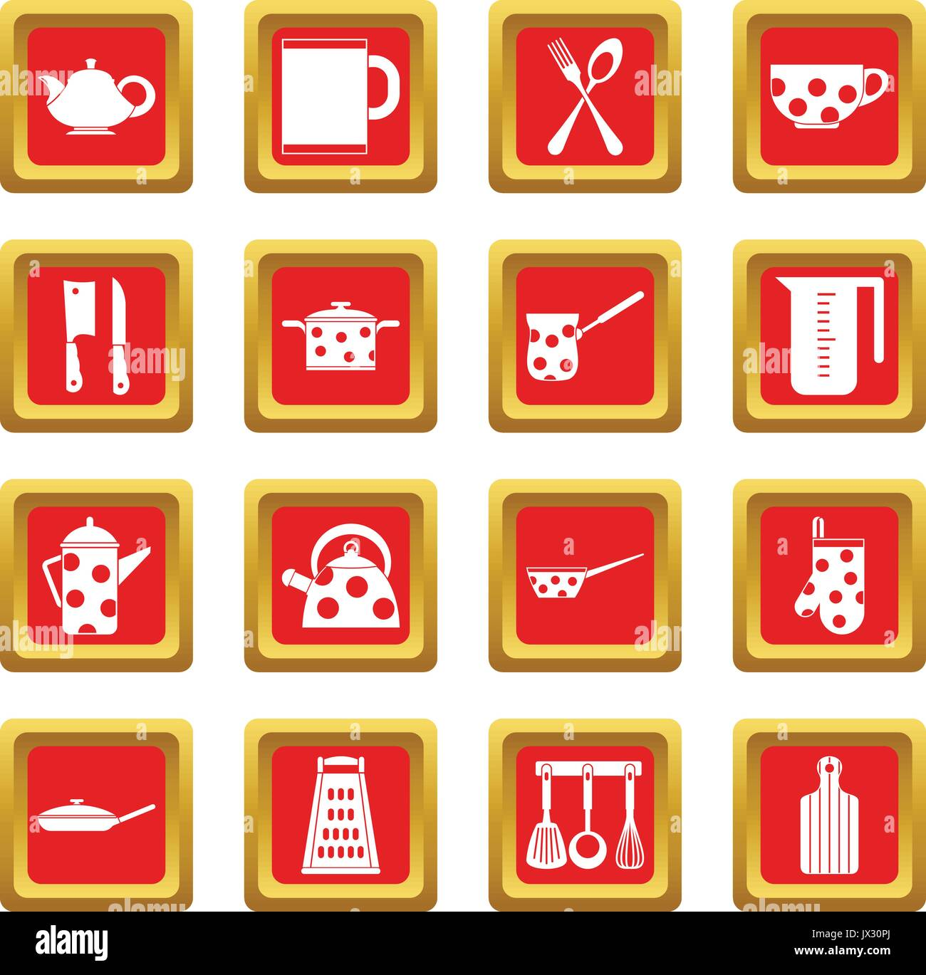 Kitchen tools and utensils icons set red - Stock Vector