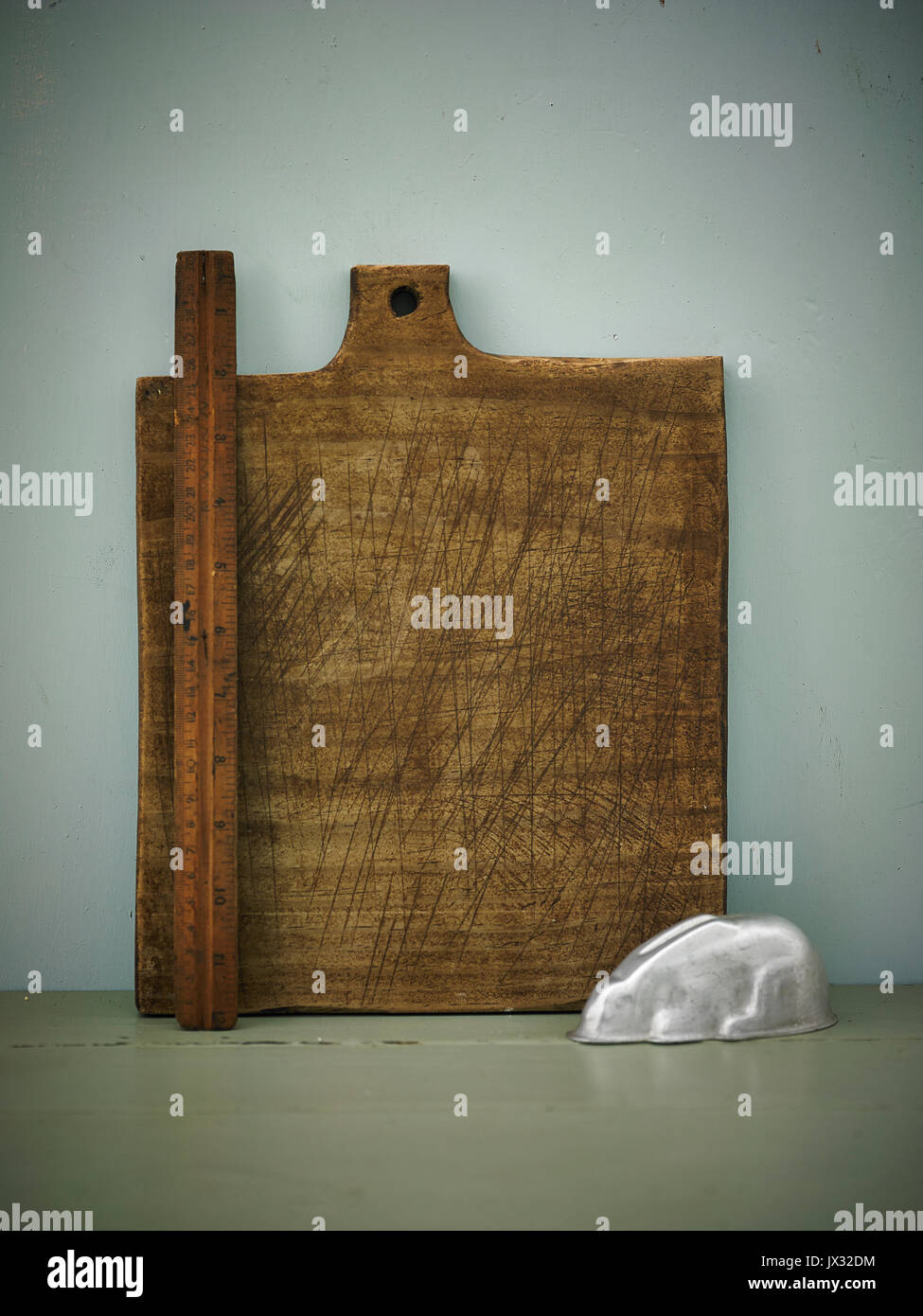 Rustic handmade chopping boards Stock Photo