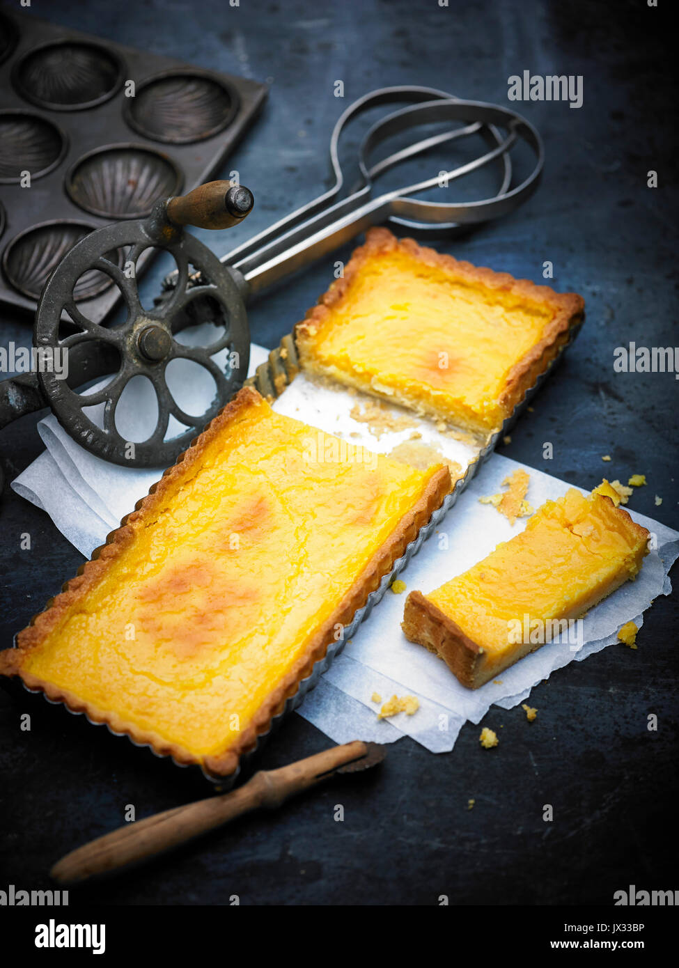 silky lemon tart with home made pastry - Stock Image