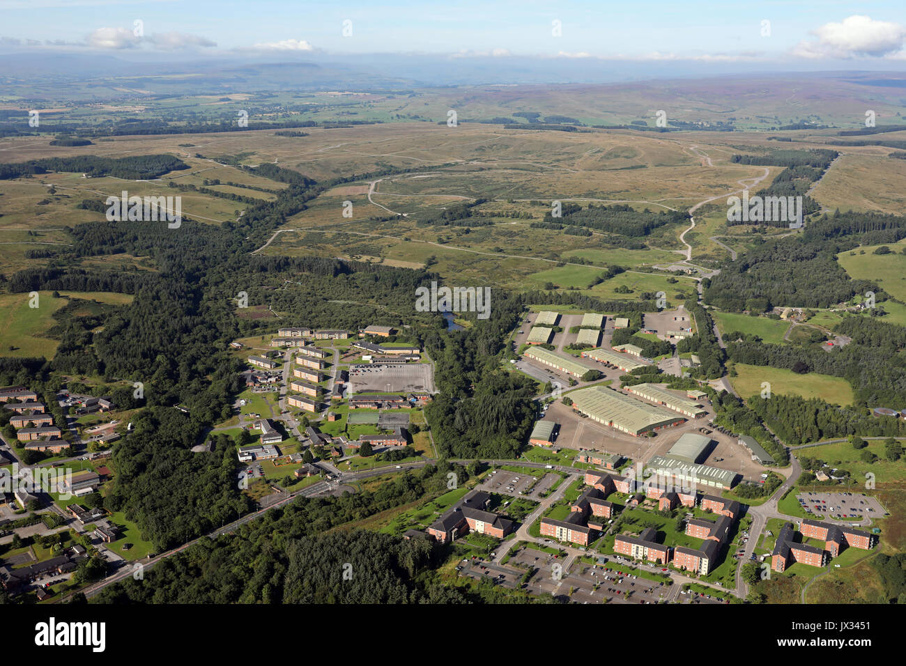 aerial view of Catterick Garrison and army training land to the west, UK - Stock Image