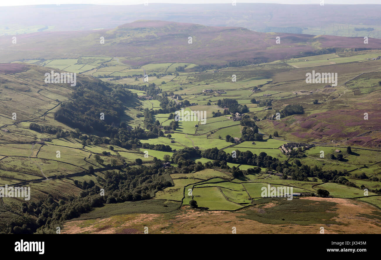 aerial view of a Yorkshire Dales valley scene, UK - Stock Image