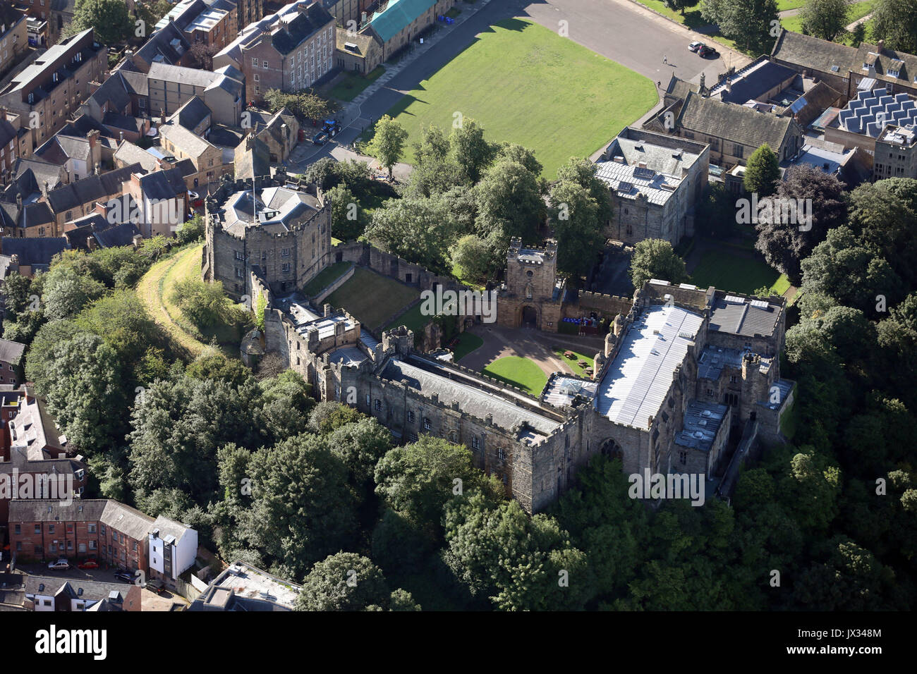 aerial view of Durham Castle (part of Durham University), UK - Stock Image