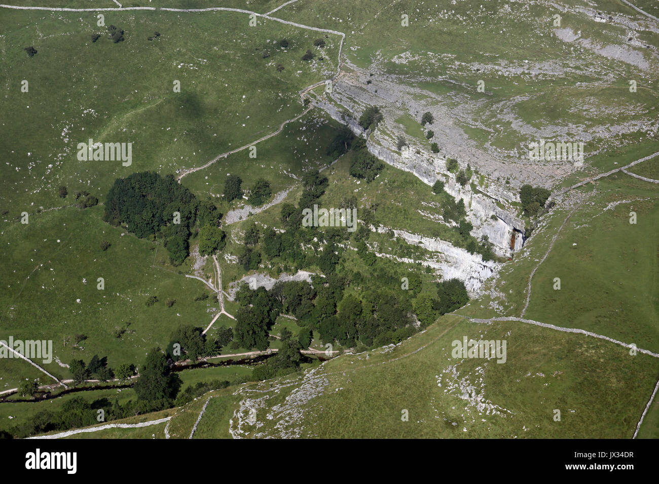 aerial view of Malham Cove, Yorkshire Dales, UK - Stock Image