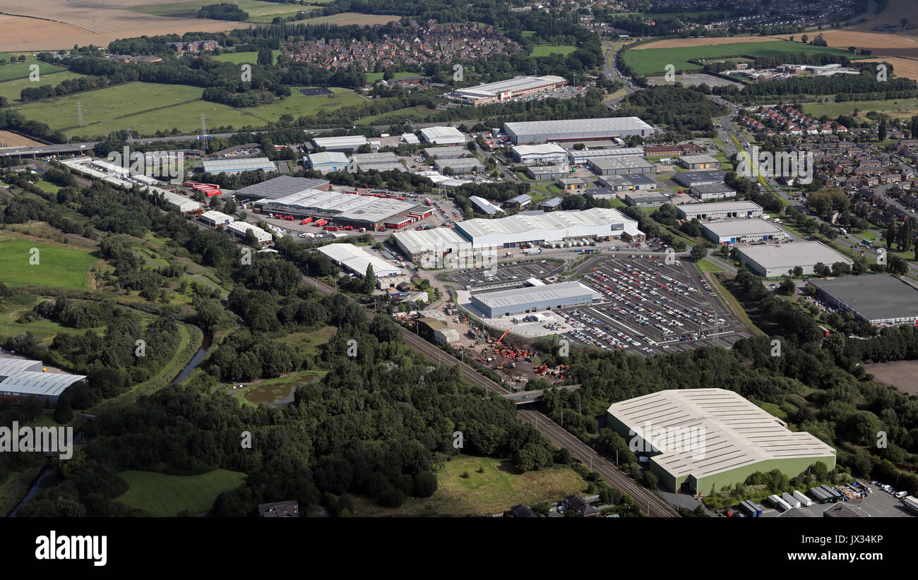 aerial view of Winwick Quay Industrial Estate, Warrington, UK - Stock Image