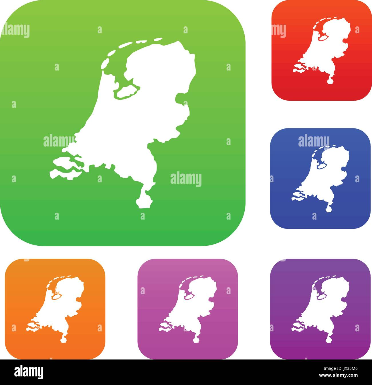 Holland map set collection - Stock Vector