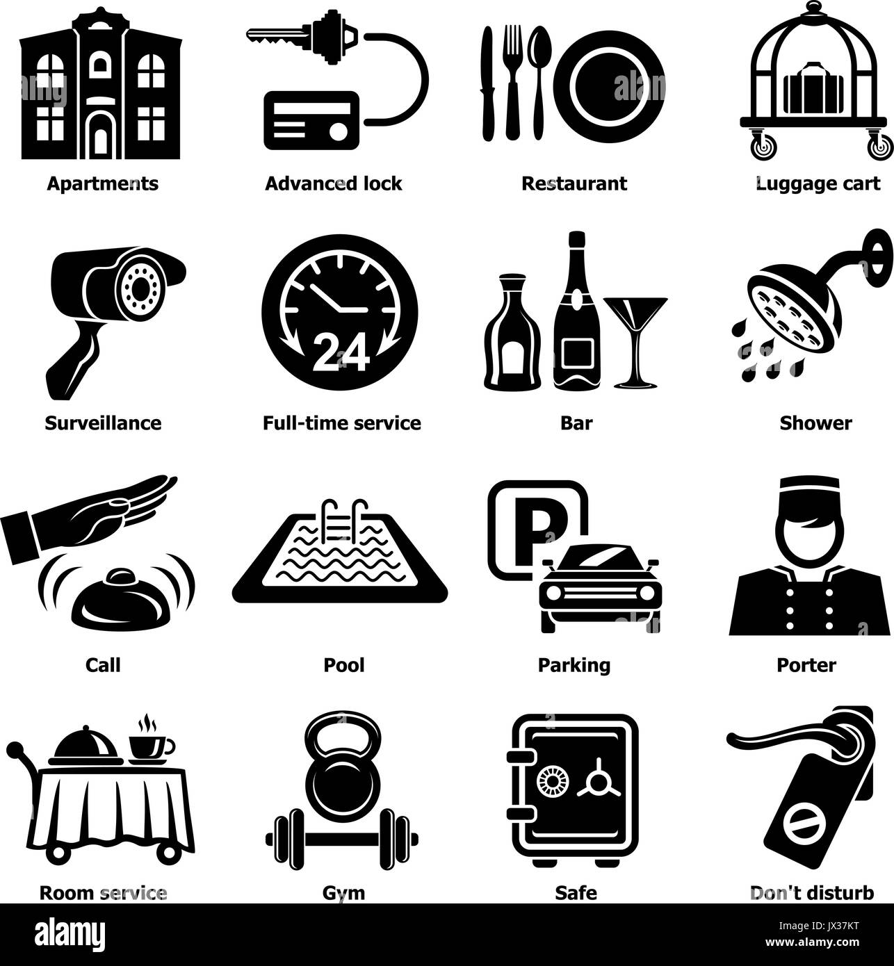 Hotel service icons set, simple style - Stock Image