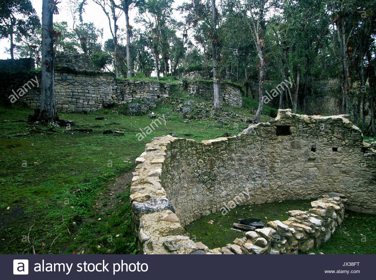 A view of the ruins at Kuelap,an immense pre-Columbian citadel that rivals Machu Picchu. - Stock Image