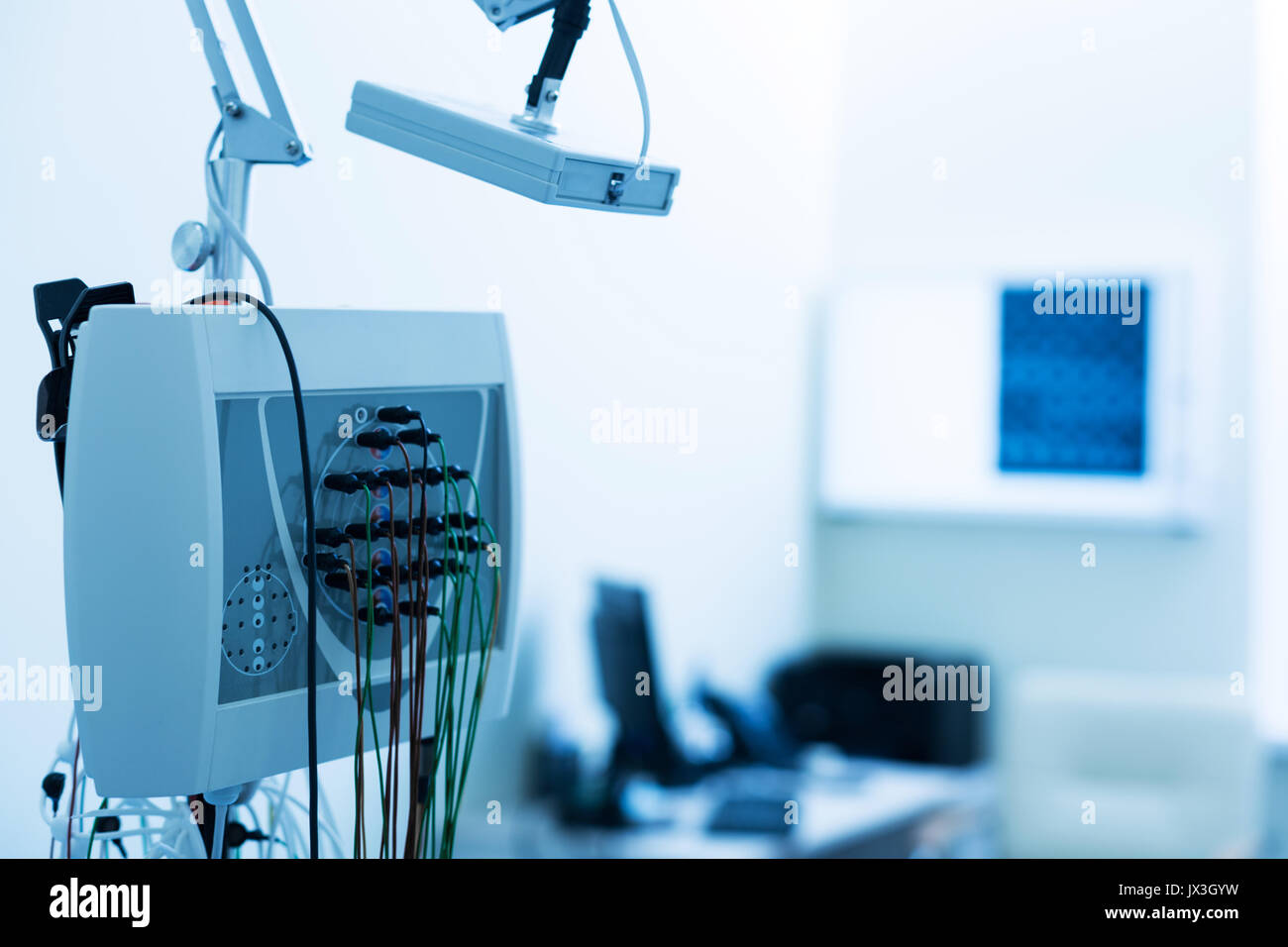 Close up of electroencephalograph standing in lab - Stock Image