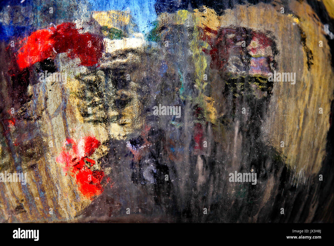 defocused outdoors Abstract photographed through wet glass - Stock Image