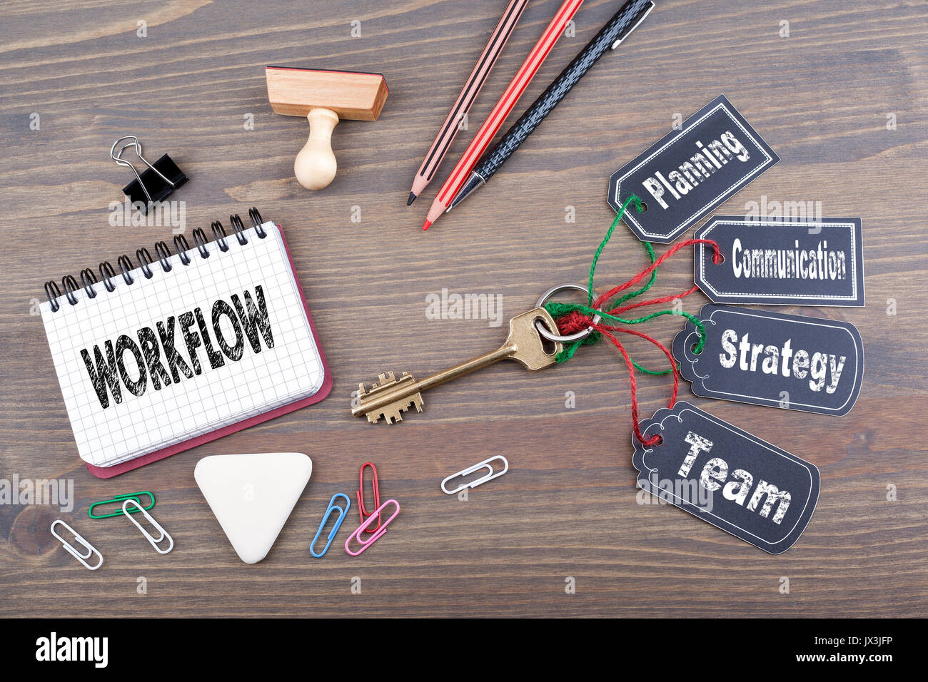 Workflow concept. The key to success on a wooden office desk. - Stock Image