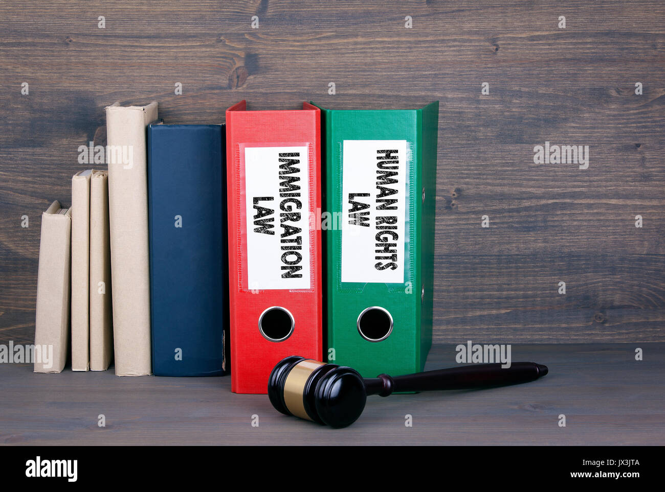Immigration and Human Rights Law. Wooden gavel and books in background. Law and justice concept. - Stock Image