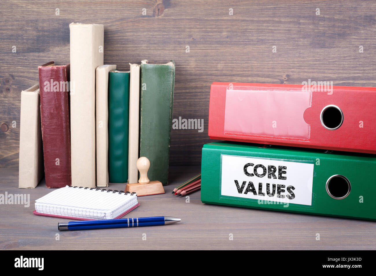 Core Values. Binder on desk in the office. Business background. - Stock Image