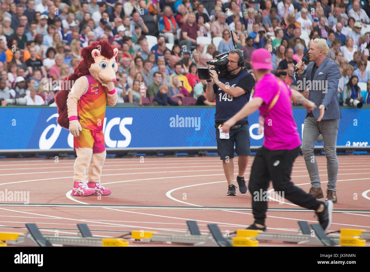 London Stadium, East London, England; IAAF World Championships; Hero the Hedgehog Mascot entertaining the fans on August 12th 2017. - Stock Image