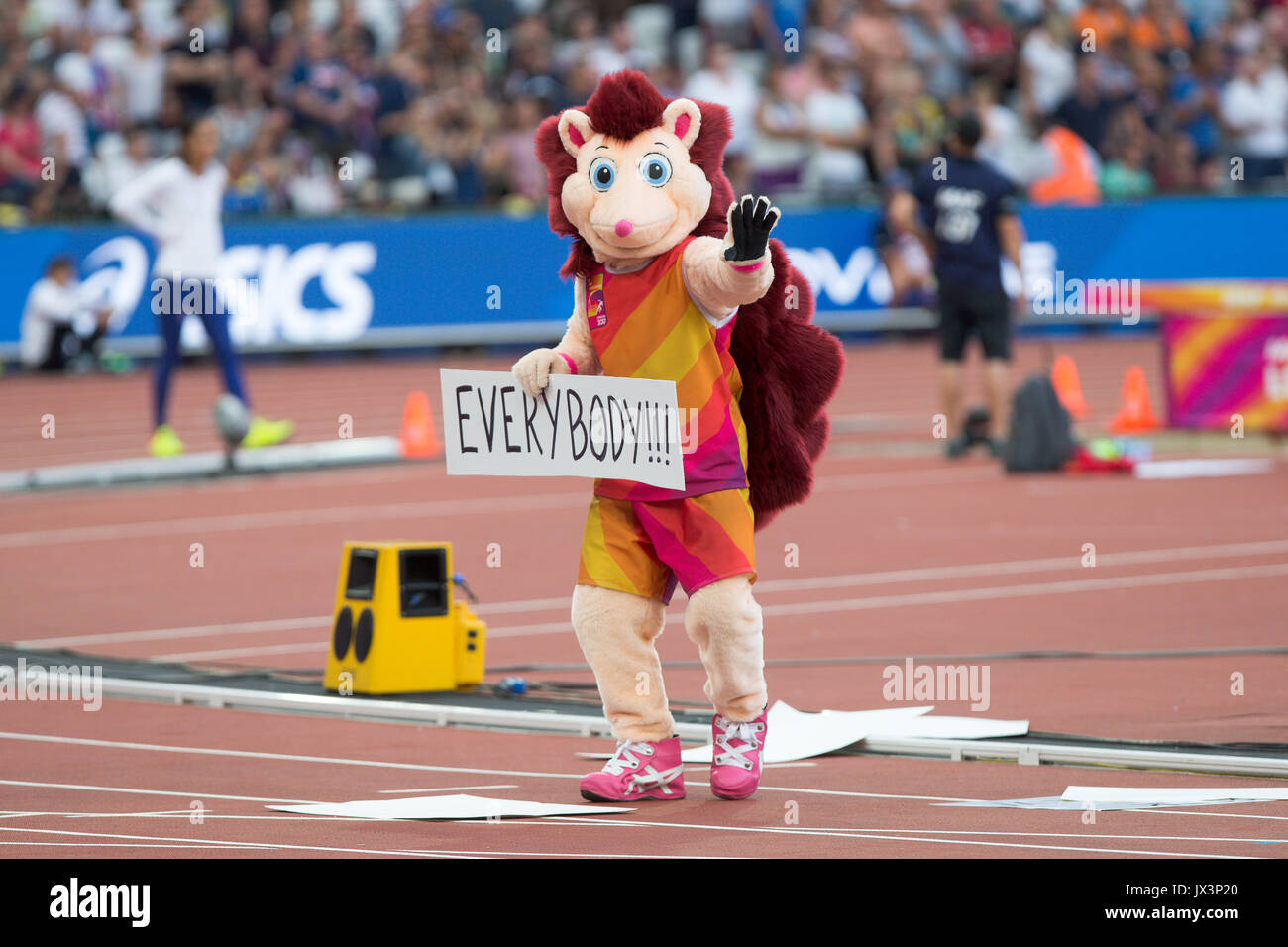 London Stadium, East London, England; IAAF World Championships; Hero the Hedgehog Mascot entertaining the fans on August 12th 2017. - Stock Image