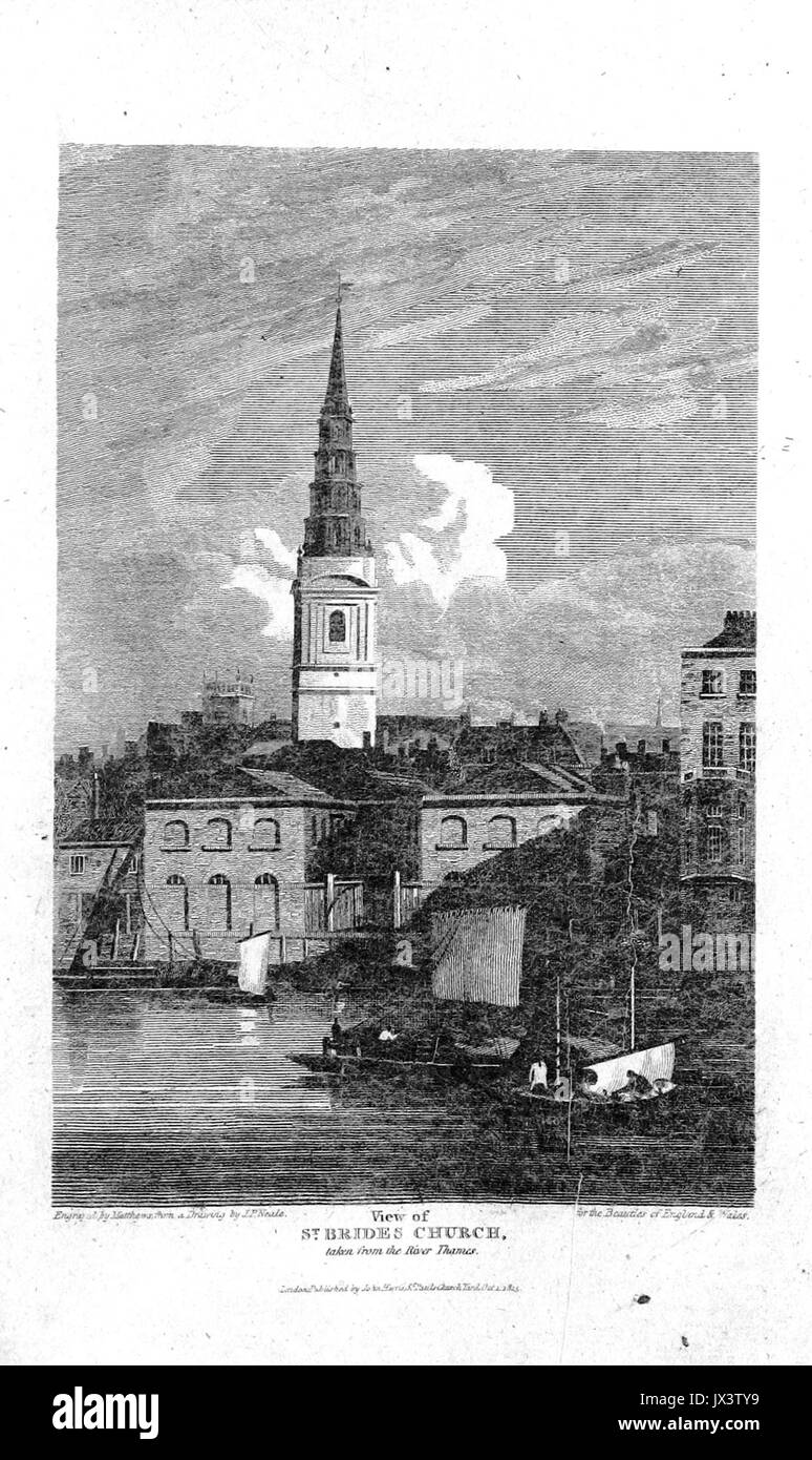 Brayley(1820) p3 063   View of St Bride's Church, from the River Thames - Stock Image