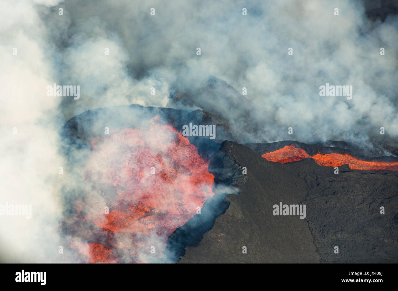 Aerial view of Bardarbunga Holuhraun volcano caldera lava flow in Iceland, October 2014 - Stock Image