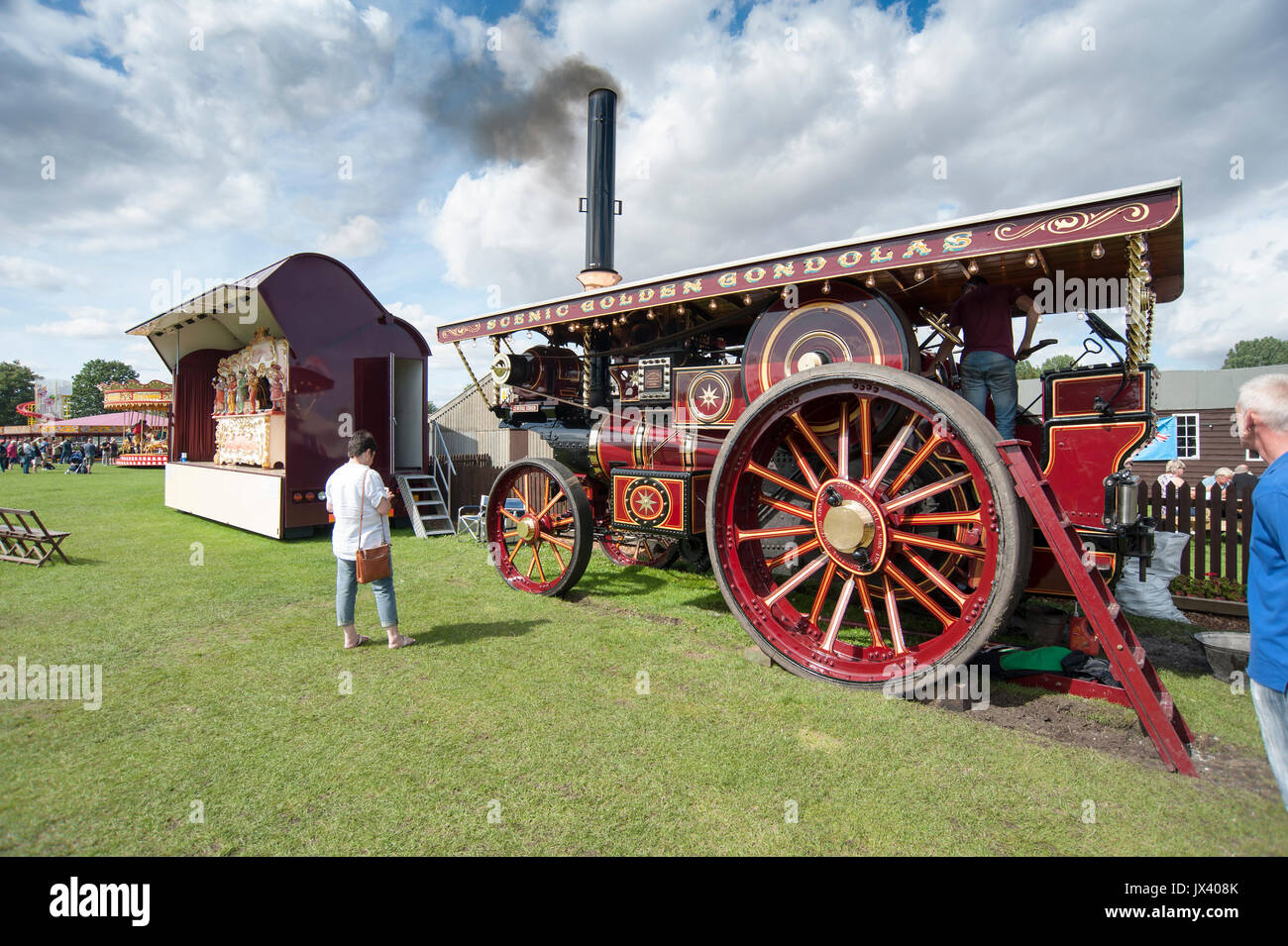 Fowler Showman's Steam Engine and Steam Organ playing for visitors at Driffield Steam and Vintage Rally in the East Riding of Yorkshire, England, UK - Stock Image