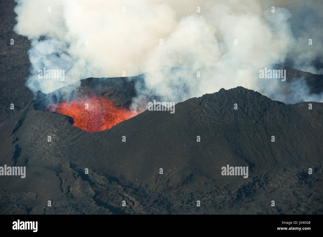 Aerial view of Bardarbunga Holuhraun volcano caldera lava flow in Iceland, October 2014 Stock Photo