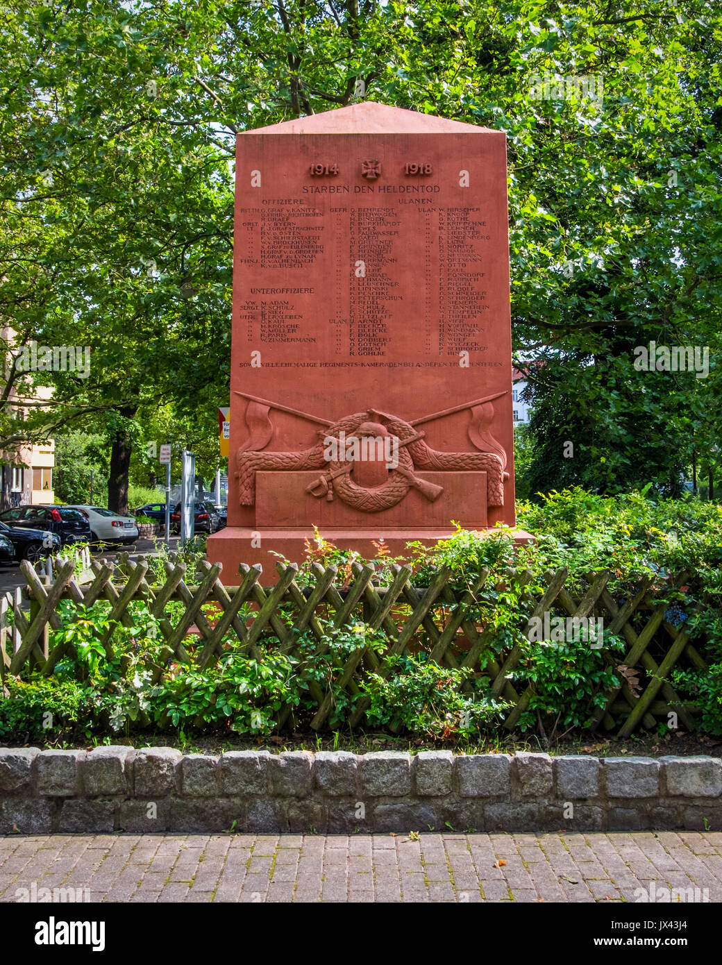 Berlin Moabit.The Regiment war memorial unveiled in 1923.World War 1 memorial with names of fallen soldiers - Stock Image