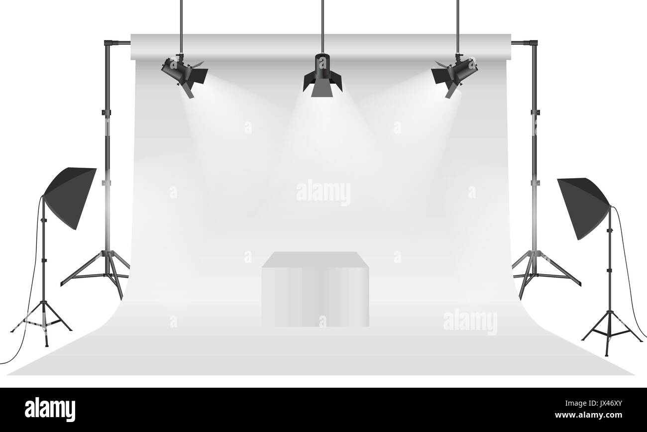 empty photo studio realistic 3d white backdrop paper with tripod