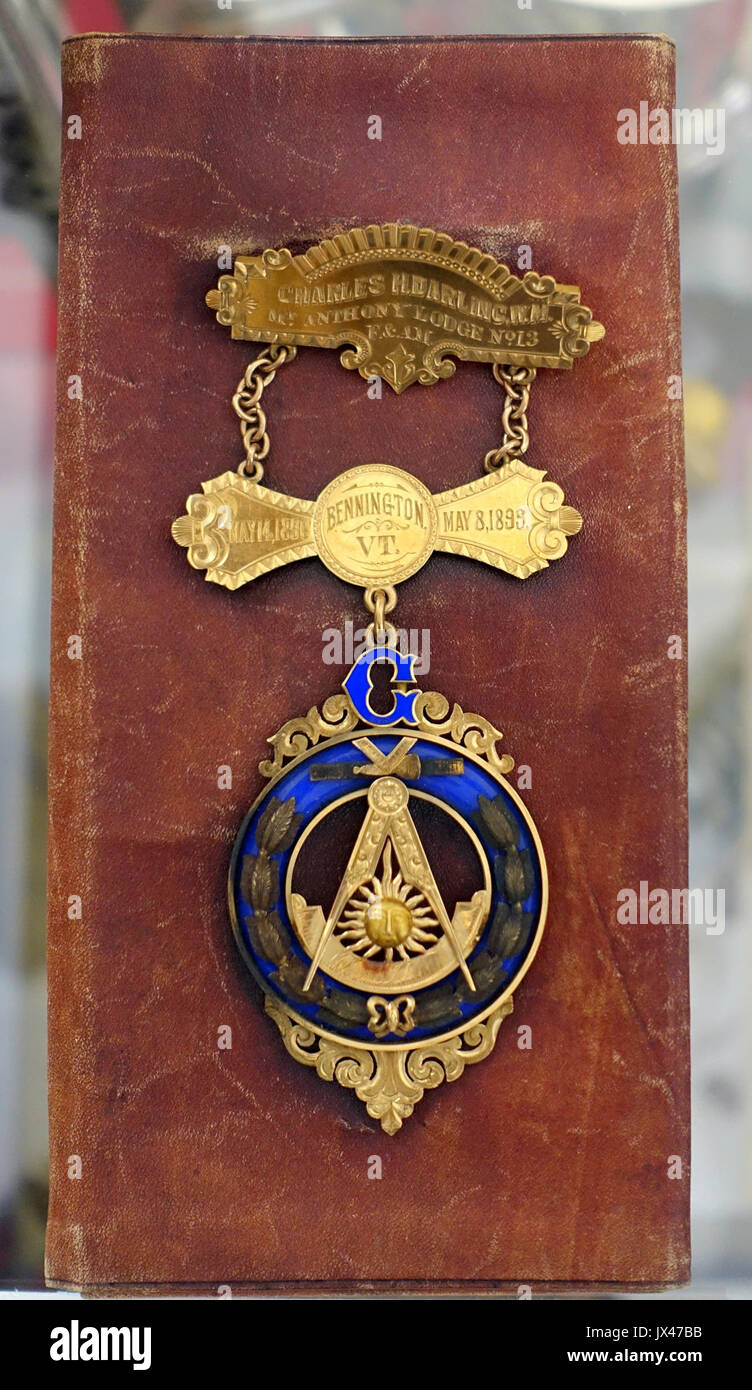 Past master's jewel, presented to Judge Charles H  Darling upon retirement as Master of Mount Anthony Lodge 13 in 1899   Bennington Museum   Bennington, VT   DSC08720 - Stock Image
