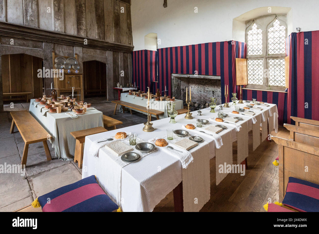 Medieval banquet settings at Tretower Court, Wales, UK - Stock Image