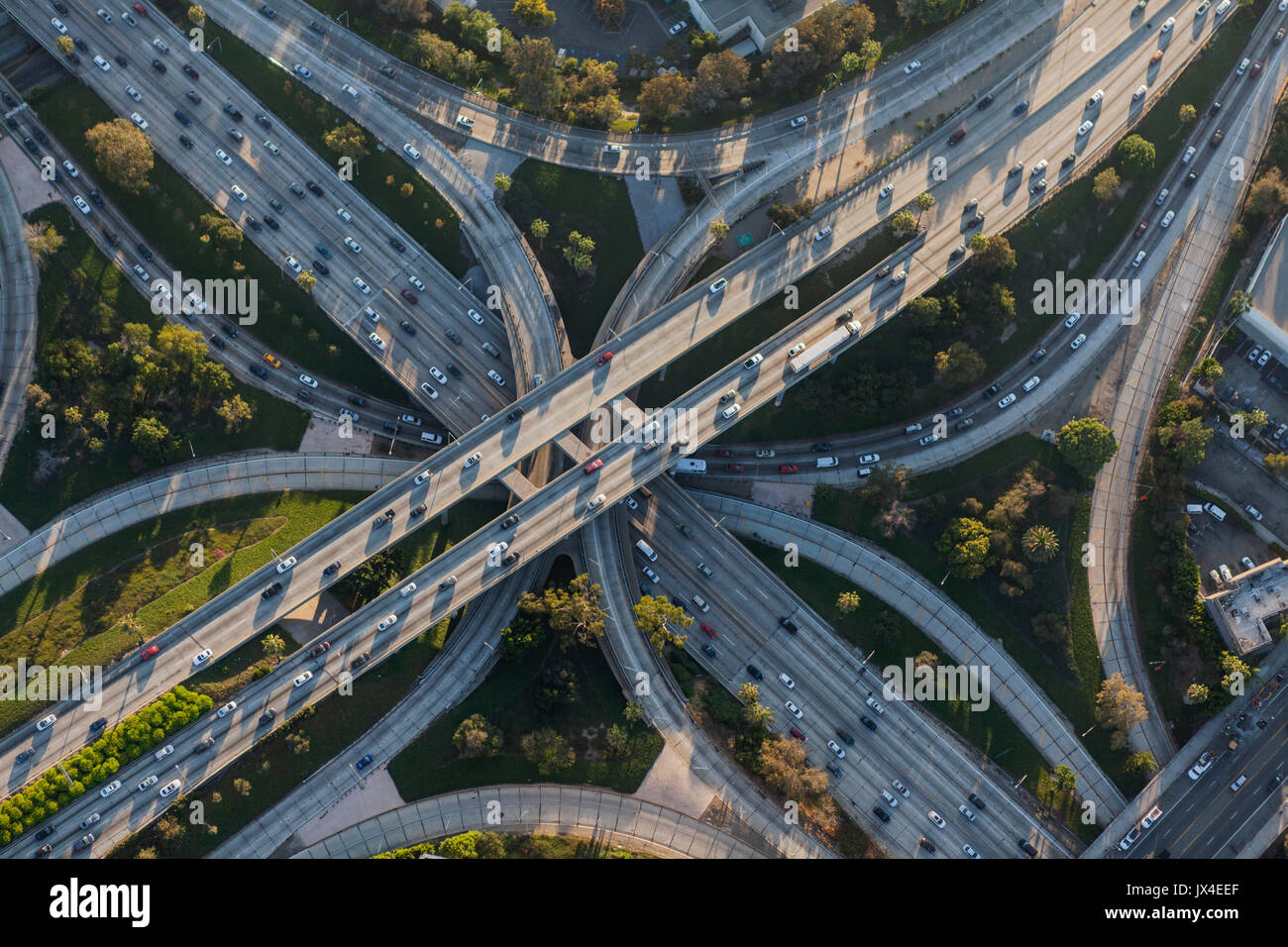 Los Angeles Harbor 110 and Hollywood 101 four level freeway interchange in Southern California. Stock Photo