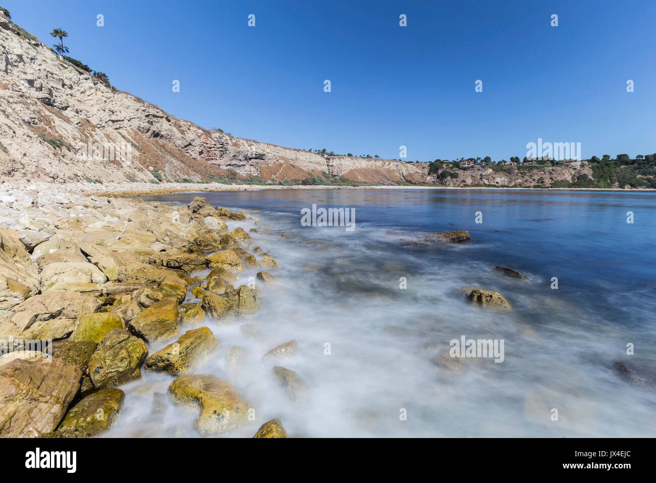 Lunada Bay with motion blur water in the Palos Verdes Estates area of Los Angeles County, California. - Stock Image