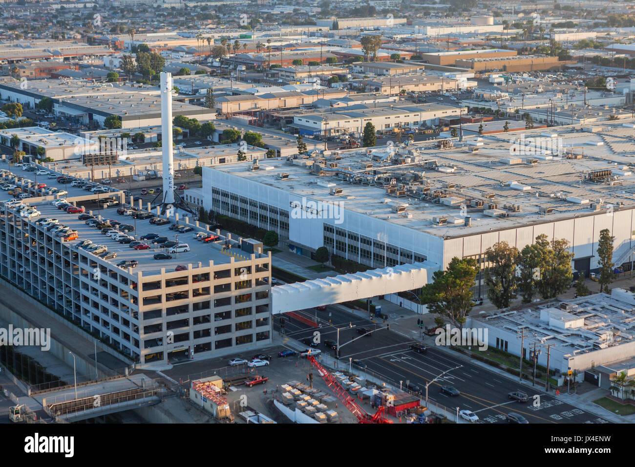 Hawthorne, California, USA - August 7, 2017:  Aerial view of the SPACEX headquarters and rocket manufacturing building. - Stock Image