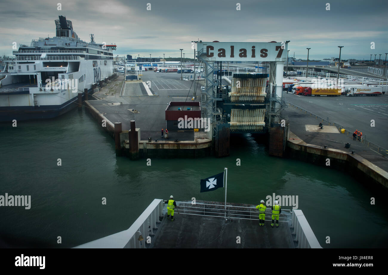 Calais Port arrival on Cross Channel ferry from Dover. Aug 2017 - Stock Image