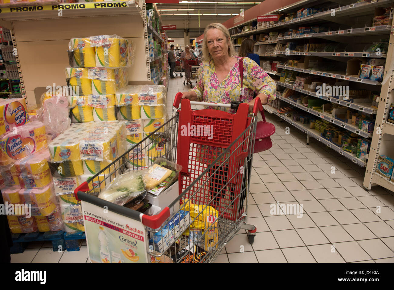 Calais France. Auchan supermarket. Shopping. Aug 2017 - Stock Image