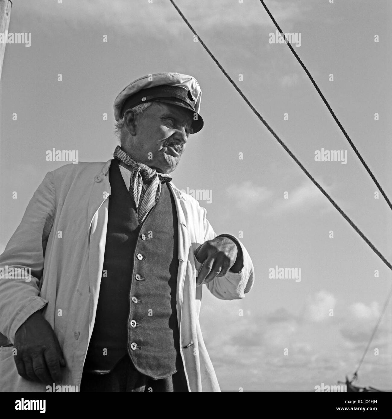 Portrait of sea captain. - Stock Image